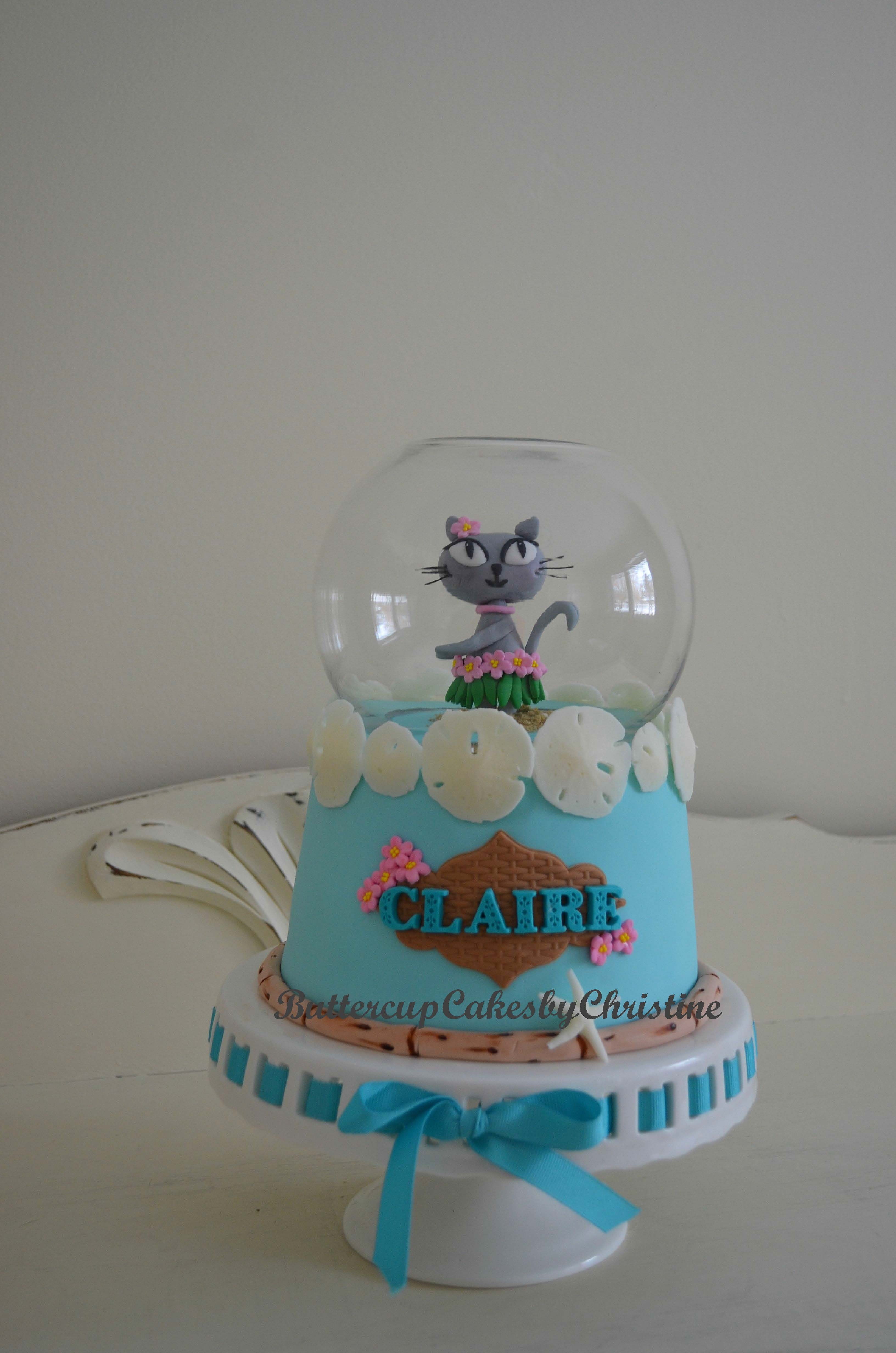 Hula Kitty In A Snowglobe A small birthday cake!