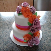 Engagement Cake Fuschia and Tangerine Engagement Cake