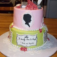 Jane Austen, Pride And Prejudice Buttercream icing with fondant accents, fondant plaques written with black food markers