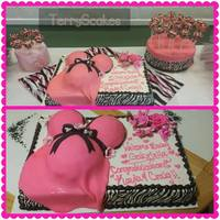 Belly Cake zebra and hot pink theme babyshower cake with matching cake pops!