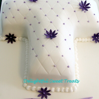 Baptism Cross Cake   White quilted fondant covered cake