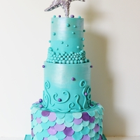"Under The Sea 3 Tiers*4"" top- 6"" middle and 9"" bottom* All fondant* teal, violet, silver*Disco dust and violet pearlescent dust"