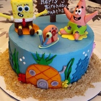 Spongebob Birthday Cake 9in WASC cake with chocolate pudding filling covered in buttercream and Fondant figures