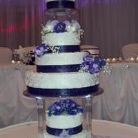 Wedding   White cake with strawberry n cream filling, butter cream frosting
