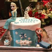 Frozen   Fondant covered cake and characters are made out of modeling chocolate.
