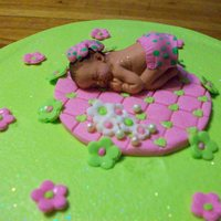 Lime And Pink Baby Shower Baby mold with added details and cupcakes to go with the cake