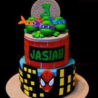 Ninja Turtles Meet Spiderman This 3 year old couldn't decide between ninja turtles or spider-man for his cake ...so he got a little of both.Buttercream cake with...
