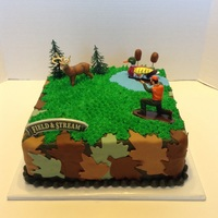 Hunting Theme Birthay Cake 10 inch buttercream, mmf accents and figurines