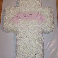 Baptism Cake   butter cream rosettes with mmf banner