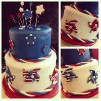 Patriotic Cake Covered in fondant with fondant pin wheels