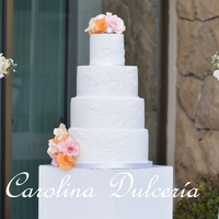 Lace And Flowers, Cake for 100 guests, wedding in beautiful area along the Pacific Ocean.