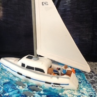 Sailboat Cake   Carved, fondant covered cake