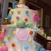 Whimsical Candy Cake  Buttercream iced with fondant accents, cake ball bon-bons, rkt icecream scoop, pop stix, m&m's and kitkat's are only...