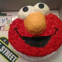 Elmo Cake 2nd birthday cake. all buttercream except the eyes are covered in whit fondant.