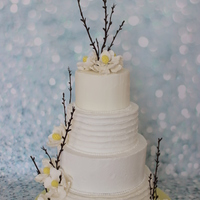 Rustic Wedding Cake With Fantasy Flowers practice cake