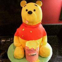 Winnie The Pooh Body, head and honey pot cake, legs cake truffle. Covered in fondant