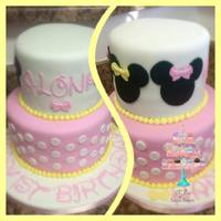 "Minnie Mouse Cake 6"" & 8"" fondant covered Minnie Mouse 2 tier cake"