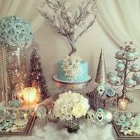 Frozen Party All edible , Fondant Cake and Matching Sweets, Table decor by Radelkis de la Rosa,,