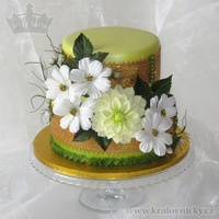 For Granddad Birthday cake for 85 years celebration, decorated with fondant flowers, colored by airbrush