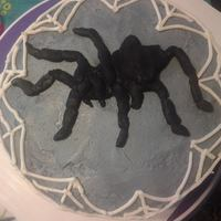 Tarantula Spider Web Cake Chocolate Cake with White Chocolate Buttercream and Modeling chocolate accents