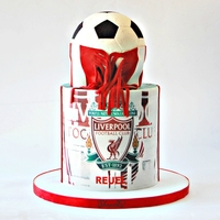 Liverpool Soccer Cake Chocolate Cake ,chocolate ganache with edible paper and fondant.