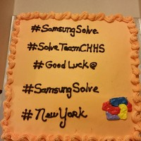 Celebration Cake Done for our GREAT CHHS kids and teacher headed for New York City!! Vanilla cake with #s and logo.