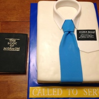 Missionary White Shirt Cake  This is the cake I made for a mission farewell open house. Everything on the cake is edible including the missionary tag, The Book of...