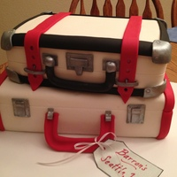 Stack Of Suitcases Going away party! Fondant and gumpaste accents.