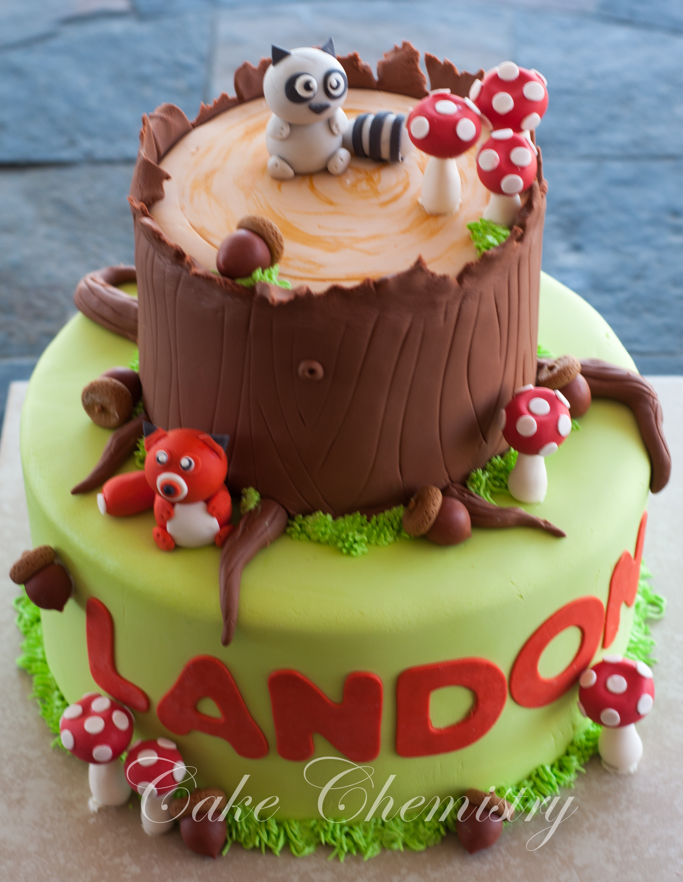 Woodland Critter Birthday Cake 2 tier cake with gumpaste and fondant decorations.
