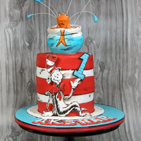 Dr Seuss Cat In The Hat Cake I was not sure if this was going to be one I would love but once I started I just adored this cake. It was so much fun and I took a lot of...