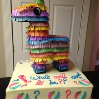 Fiesta Cake Fiesta themed announcement cake. Pinata is 100% edible, made out of chocolate and rice paper. Filled with colored candy. Chocolate chip...