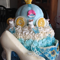 Cinderella Cake This cake was made for a little girl who wanted a cinderella masquerade party. Cake is all chocolate with buttercream icing. Carriage is...