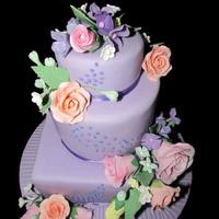 Pastel Garden Wedding Small wedding cake, WASC with custard filling/raspberry on one tier, custard/apricot on other tier.