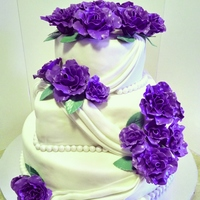 Purple Rose Wedding Cake These roses really are this bright purple. One of my faves