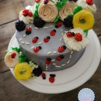 Lady Bugs Butter Cream Cake ladybugs buttercream cake