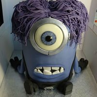 Purple Minion Purple Minion. The skin on my hands have yet to recover after making all that hair! Hand painted eye.