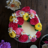 Spring Flowers In Buttercream Inspiration I made flower butter cream cake with spring theme, base sponge cake cover with butter cream and decor with butter cream flower
