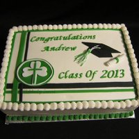 8Th Grade Graduation This is a 13 x 9 Double layer sheet cake. It's white cake frosted and filled with buttercreamand all decorations are hand cut/made...
