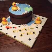 "Rubber Ducky Made for baby shower. Customer gave me picture of cake she wanted. Thanks to original cake designer. It was 10"" vanilla cake filled..."