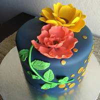 Floral Delicate Petals   Deep blue, gold and florals