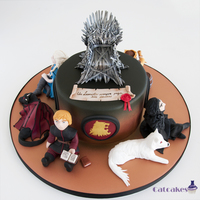 Game Of Thrones Cake Game of thrones cake with 4 characters. We really enjoyed making this cake cause we like tv serie and books ^^