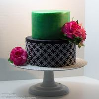 Metallic Green Cake With Gum Paste Roses Metallic Green Cake with Gum Paste Roses
