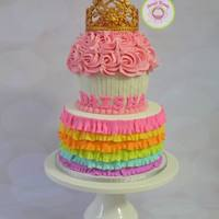 Ruffle And Tiara A ruffled cake with a tiara for a princess!