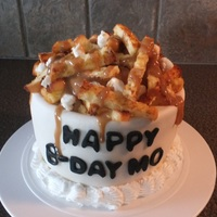 Poutine Cake  Poutine cake for my BFF's b-day! Old fashioned sour cream chocolate cake with whipped cream buttercream, homemade marshmallow fondant...
