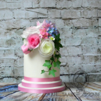 Cake With Wafer Paper Flowers white cake with wafer paper flowers: roses, peony, hedera, ranunculus, hydrangea and dahlia