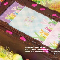Easter Bunnies Are Hoppin Easter will be here soon, so we decorated this chocolate frosted cake with Easter Bunnies edible designer print here http://www....