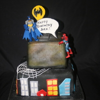 Superhero Birthday Cake   Fondant covered cake, airbrushed