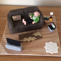 Settee Cake / Selfie Cake For My Hubby   All edible parts made from fondant for my husbands 44th birthday today.