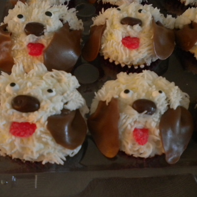 Puppy Cupcakes White Cake With Chocolate Gansche Fillling Chocolate Covered Raisin For Nose Tootsie Roll Ears Candy Eyes Red Spice