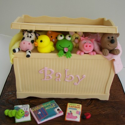 Toy Box Cake With Fondant Animals Board Is All Fondant And Books Are Edible Images